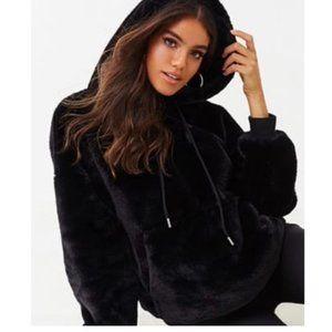 Black plush faux fur full zip hoodie NWT
